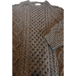 Genuine Aran Islands An Púcán Hand Knit Wool Sweater Ireland Men's L MINT