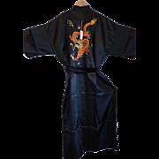 Vintage Black Silk Dragon Kimono Robe Size M - L