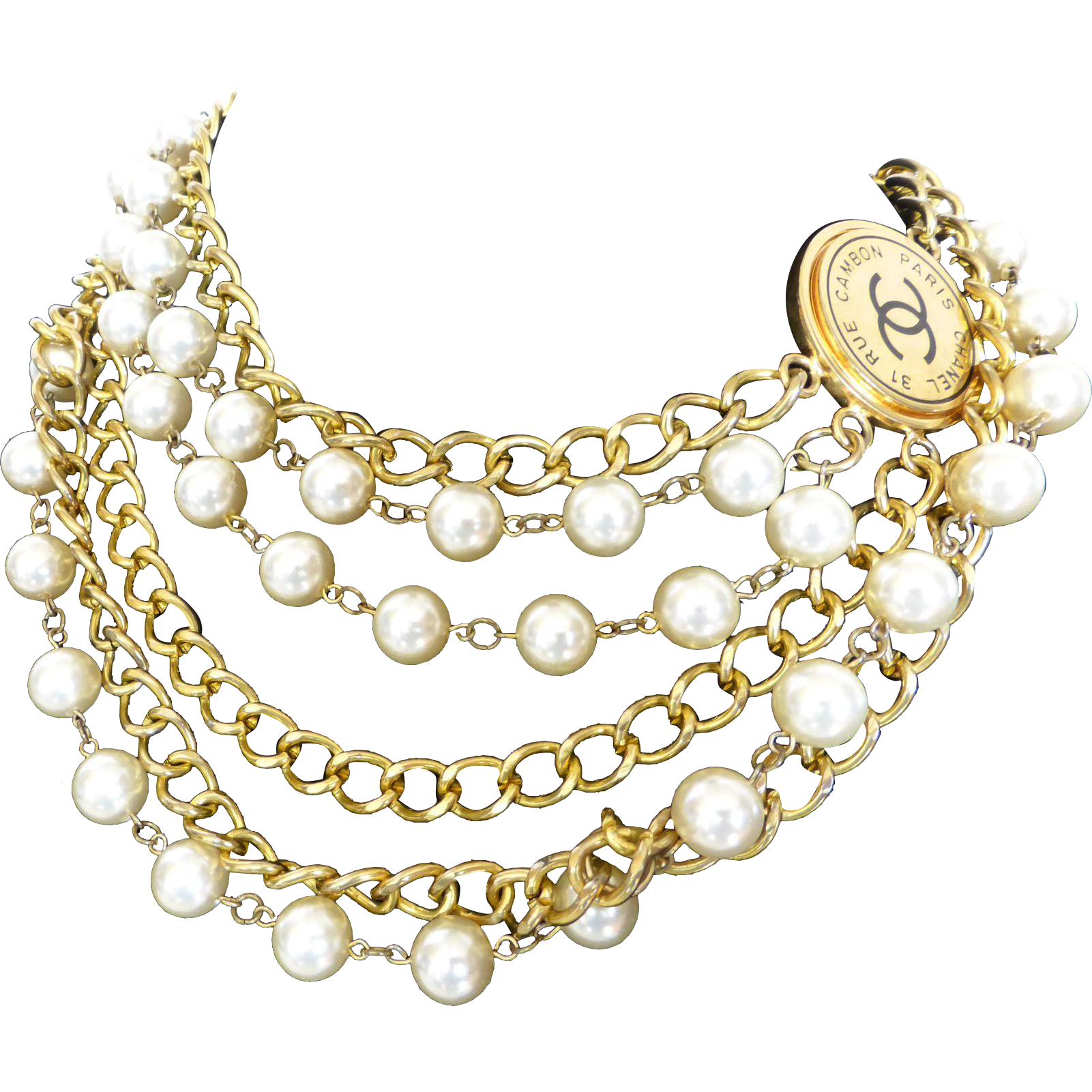 Stunning Chanel Paris New York Gold Tone Chain Faux Pearl