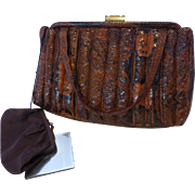 Stunning 1960's PYTHON Snake Skin Purse w/ Coin Purse, Mirror for I. Magnin