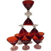 Anchor Hocking Royal Ruby Berwick Boopie Sherbets / Champagne Coupes Set of 10