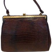 Vintage Tegu Lizard Skin Purse Hand Bag Mahogany