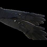 Ooh-la-la Sheer Chiffon Long Black Opera Gloves MINT