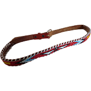 1950's Vintage Souvenir Beaded Tooled Belt Thunderbird Pattern
