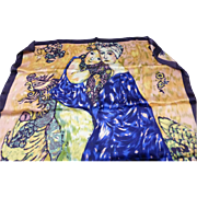"Vintage Gustav Klimt Silk Scarf – ""Portrait of Women"" France"