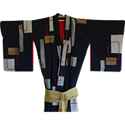Antique Japanese Silk Ceremonial Kimono Robe