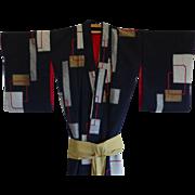 Antique Japanese Silk Ceremonial Kimono Robe
