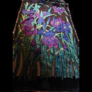 Vintage Metropolitan Museum of Art MMA Silk Velvet Scarf 'Irises' by Vincent van Gogh
