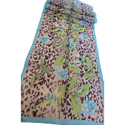 Vintage Long Silk Chiffon Tropical Jungle Leopard Print Scarf