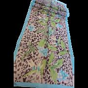 Vintage Long Silk Chiffon Tropical Jungle Leopard Print Scarf
