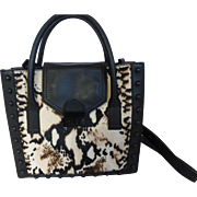 Loeffler Randall Calf Hide Animal Print Satchel Bag