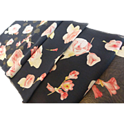 Vintage Echo Silk Chiffon Long Flower Scarf
