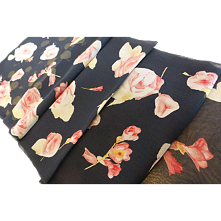 Vintage Echo Silk Chiffon Long Flower Scarf