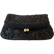 Vintage Black Beaded Fold-Over Clutch Hand Bag Purse