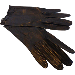 Vintage Black Kidskin Leather Gloves Cutwork Size 6 MINT