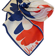 Vintage Vera Lady Bug Scarf – Butterflies in Red, White & Blue