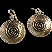 Sterling Silver Hammered Modernist Earrings