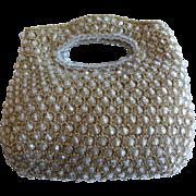 Vintage 1960's Rosenfeld Metallic Crocheted and Beaded Purse Italy