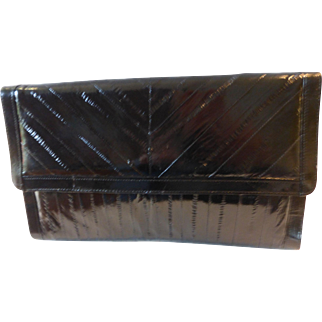 Vintage Black Eel Skin Clutch Purse