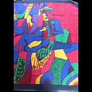 Vintage Pablo Picasso Silk Scarf Cubist Man Paris France