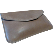 Vintage Michael Green Taupe Envelope Clutch Leather