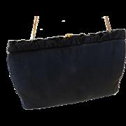 MM Morris Moskowitz Peau De Faille Black Gold Tone Evening Bag Clutch Purse