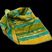 Vintage Vera Silk Scarf in Greens