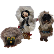 Genuine Fur Draped Figures - 2 Eskimo Dolls & Owl