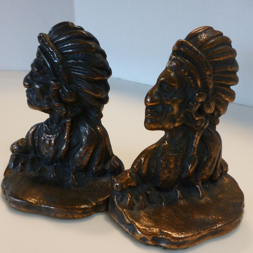 Pair Of Vintage Copper Over Iron American Indian Chief Bookends Historique Ruby Lane