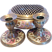 Vintage Etched & Enameled Brass Bowl w Flower Frog Grill & Candlesticks SET India