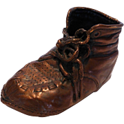 Vintage Copper Bronzed Baby Shoe