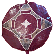 Moroccan Leather Pouf Ottoman Deep Burgundy