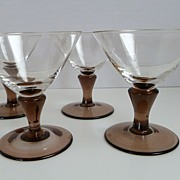 Vintage Stemmed Hand Blown Cordial Set of 4