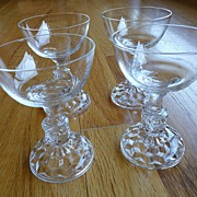 Elegant Crystal Cordials 1950's Set of 4