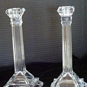 Stunning Art Deco Tall Glass Candlesticks