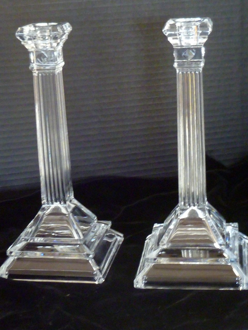 stunning art deco tall glass candlesticks from historique on ruby lane. Black Bedroom Furniture Sets. Home Design Ideas