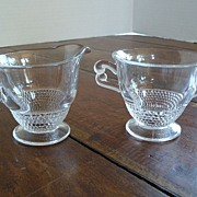 Duncan Miller Tear Drop Sugar Bowl and Creamer