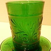 Vintage Hocking Forest Green Sandwich 8 oz Tumbler Glass w/ Liner Plate