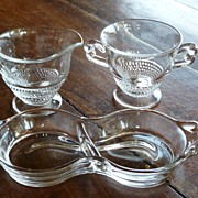 Vintage Duncan & Miller Creamer & Open Sugar with Tray
