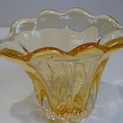 Vintage Murano Sommerso Caramel Glass Dish Vase