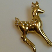 Swarovski Fawn Brooch Pin with Rhinestones