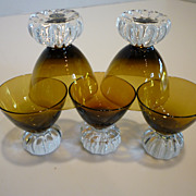 Mid-Century Swedish Hand Blown Crystal Liqueur Glasses Set of 5