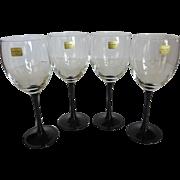 Vintage Luminarc France Black Stem Crystal Wine Glasses Set of 4