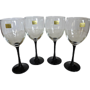 Vintage Luminarc France Black Stem Crystal Wine Glasses Set of 4