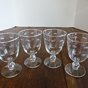 Vintage Cut Crystal Wine Goblets w/ Pussy Willow Pattern Set of 4