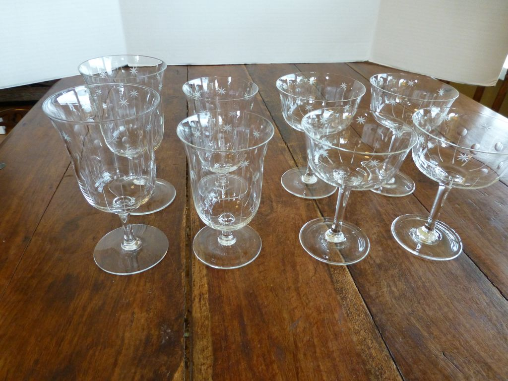 Vintage Cut Crystal Wine & Cocktail Stemware Set of 8