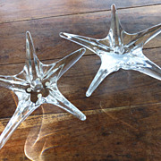 Daum Large Crystal Signed Star Candle Holders Pair, France