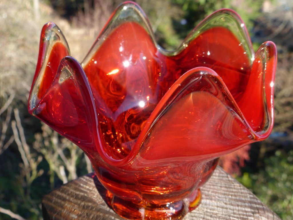 Mid Century Amberina Flame Handkerchief Dish From