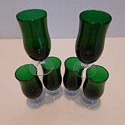 Vintage Emerald Green Blown Glass Cordials Set of 6