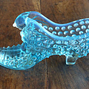 Fenton Cat in the Slipper Aqua Opalescent Hobnail Glass